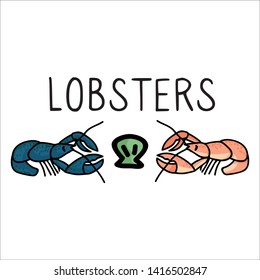 Cute pair of lobsters typography cartoon vector illustration motif set. Hand drawn isolated seafood crustacean elements. Clipart for ocean text blog, wildlife graphic, shell web buttons.