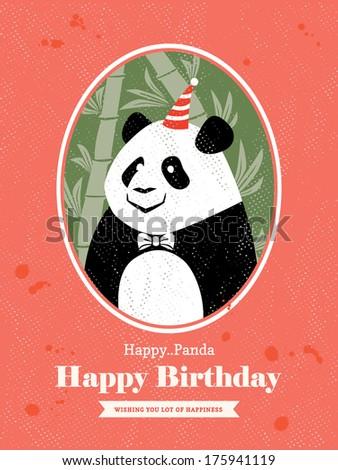Cute Panda Animal Cartoon Birthday Card Stock Vector Royalty Free