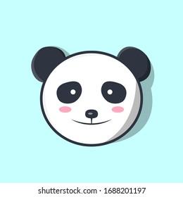 Cute Panda Animal Head Kawaii Vector Illustration