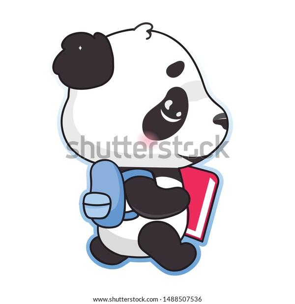 Cute Panda Back School Kawaii Cartoon Stock Vector Royalty Free 1488507536