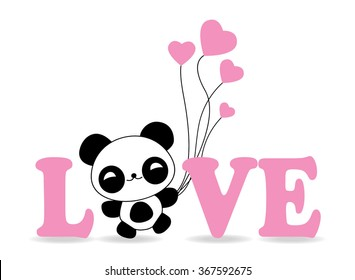 Cute panda with balloon