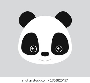Cute Panda bear with big eyes in frontal view