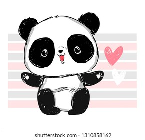Cute Panda Bear. Cartoon character. Design print for t-shirt.