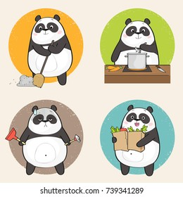 Cute Panda Bear Character doing different housework. Vector illustration