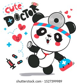 Cute panda bear doctor holding stethoscope to checking red heart isolated on white background illustration vector.