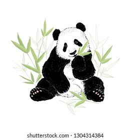 Cute panda bear eating bamboo leaves. Vector illustration isolated on white.