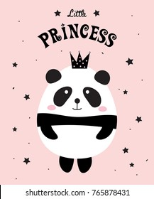 Cute panda bear girl with crown. Little sweet princess. Vector illustration