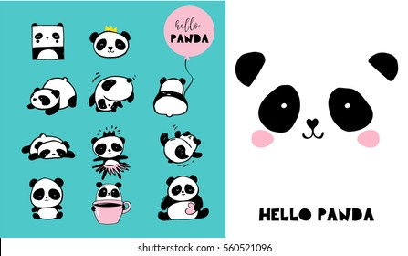 c8b9d6ee36c9 Cute Panda bear illustrations