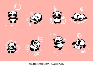 Cute Panda bear illustrations, collection of vector hand drawn elements, isolated black and white icons on a pink background.