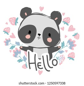 Cute panda bear on a background of flowers with the inscription Hello. Vector Illustration.