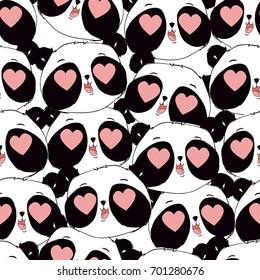 Cute Panda bear Pattern Vector,