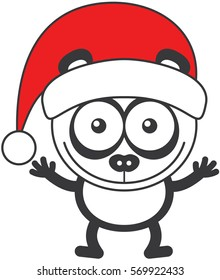 Cute panda bear with rounded ears, black rings around its eyes and wearing a Christmas Santa hat while wide opening its eyes, stretching its arms, smiling enthusiastically and greeting