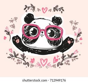 Cute Panda Bear, vector illustration. hand drawn panda with glasses, flowers frame.