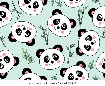A cute panda bears and bamboo vector seamless pattern. Bear seamless pattern vector panda polar bear bamboo repeat wallpaper background cartoon face character. Pink vector background. Textile fabric.