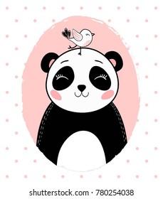 cute panda with bird vector.T shirt graphic.cartoon animal.