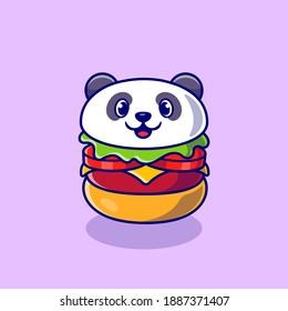 Cute Panda Burger Cartoon Vector Icon Illustration. Animal Food Icon Concept Isolated Premium Vector. Flat Cartoon Style