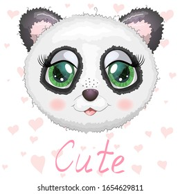 Cute panda cartoon girl face with bright expressive eyes with flowers and stars