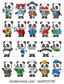 Cute panda cartoon mascot Pack zur Illustration
