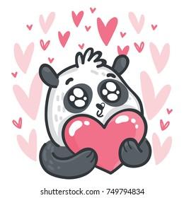cute panda character googly eyes madly stock vector royalty free