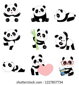Cute panda characters. Chinese bear newborn happy pandas toy vector mascot design isolated