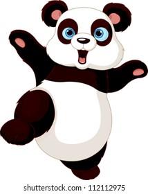 Cute Panda doing martial art