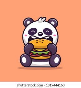Cute Panda Eating Burger Cartoon Vector Icon Illustration. Animal Food Icon Concept Isolated Premium Vector. Flat Cartoon Style