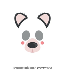 Cute panda face. Mask. Vector illustration isolated on white background.