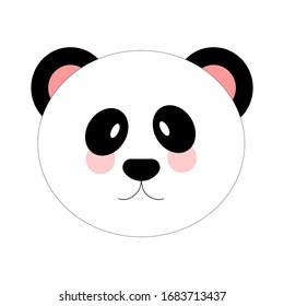 Cute panda face. vector eps 10