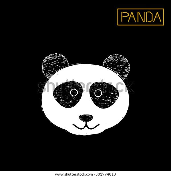 Cute panda face, vector icon