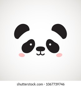 Cute panda face. Vector illustration panda bear . Logo design template. Animal Logotype concept icon .