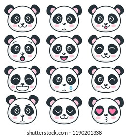 Cute panda faces with different emotions