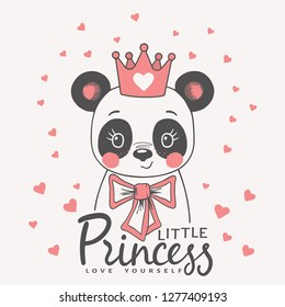 Cute panda girl face with pink crown, bow. Little Princess slogan. Love Yourself. Vector illustration design for t-shirt graphics, fashion prints, slogan tees