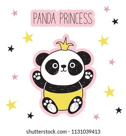 Cute panda with a golgen crown. Panda princess. Bear against the background of pink stars. Vector illustration in the kids style. Suitable for textiles, postcards, posters, printing.