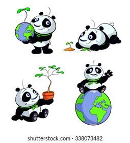 cute panda green eco earth set