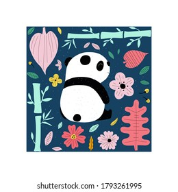 Cute panda hand drawn flat vector illustration. Adorable mountain animal with bamboo and flowers isolated on white background. Creative childish t shirt print design