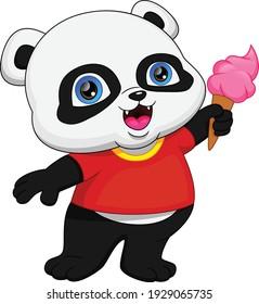 cute panda holding ice cream