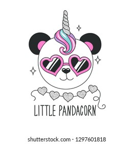 Cute panda illustration. Little Pandacorn text. Design for kids. Fashion illustration drawing in modern style for clothes. Girlish print. Glitter, unicorn, panda.