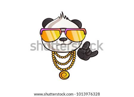 Cute Panda Illustration Thug Life Vector Stock Vektorgrafik