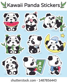 Cute panda kawaii cartoon vector characters set. Adorable, happy and funny animal eating watermelon, bamboo isolated sticker, patches pack. Anime baby panda bear sleeping emoji on blue background
