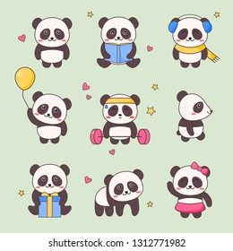 Cute Panda Kawaii Character Sticker Set. White Black Bear with Anime Face Various Emoji Design for Doodle. Comic Animal Gift Element Kit for Children. Funny Icon Kit Flat Cartoon Vector Illustration