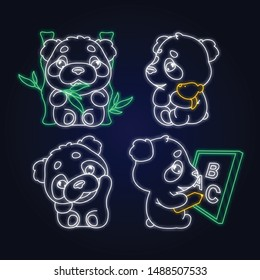 Cute panda kawaii neon light characters pack. Adorable, happy and funny animal eating bamboo, waving hand isolated sticker, patches set. Anime baby panda bear doodle emojis glowing  icons
