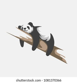 cute panda logo vector template ,cute Panda Bear Sleeping on a Tree Branch,