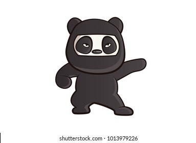 Cute Panda Ninja Illustration. Vector illustration. Isolated on white background.