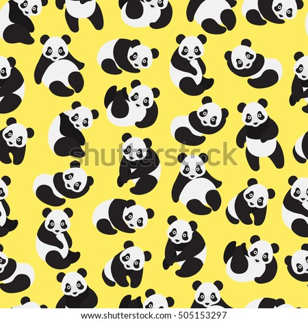 cute panda on yellow background pattern stock vector royalty free