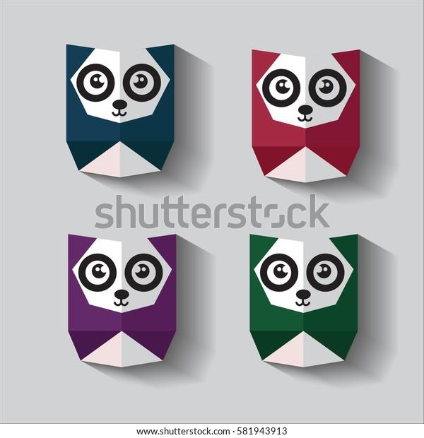 cute panda origami vector colorful