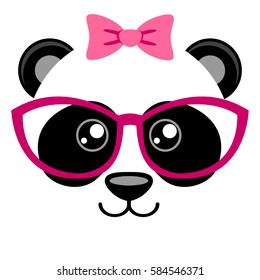 Cute panda with pink bow and glasses. Girlish print with chinese bear for t-shirt