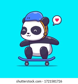 Cute Panda Play Skateboard Vector Icon Illustration. Animal Sport Icon Concept Isolated Premium Vector. Flat Cartoon Style