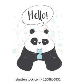 Cute panda playing in smarthphone. Social internet vector illustration with lettering.