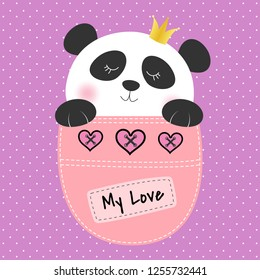Cute panda princess sitting in a pocket and smiling fun. Sweet kids graphics for t-shirts. Greeting card. Vector illustration.