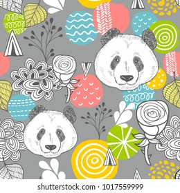Cute panda seamless pattern on grey background. Vector illustration in pastel colors.